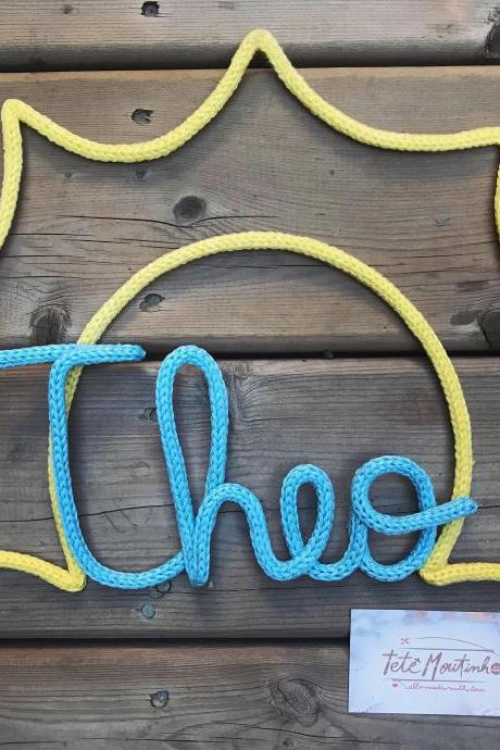 Personal Name in knitting,Sunshine Themed Party,Wall Decoration,Child Gift,Tricotin,Custom Name, Nom en Tricotin,Wool Name,BabyShower Gift