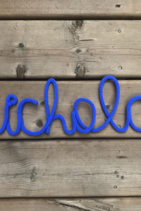Nursery Name Sign,Personalized Name,Tricotin,Personalized Gift,Custom Name, Baby Shower Gift,Party Favors,Knitted Word,Nursery Decor